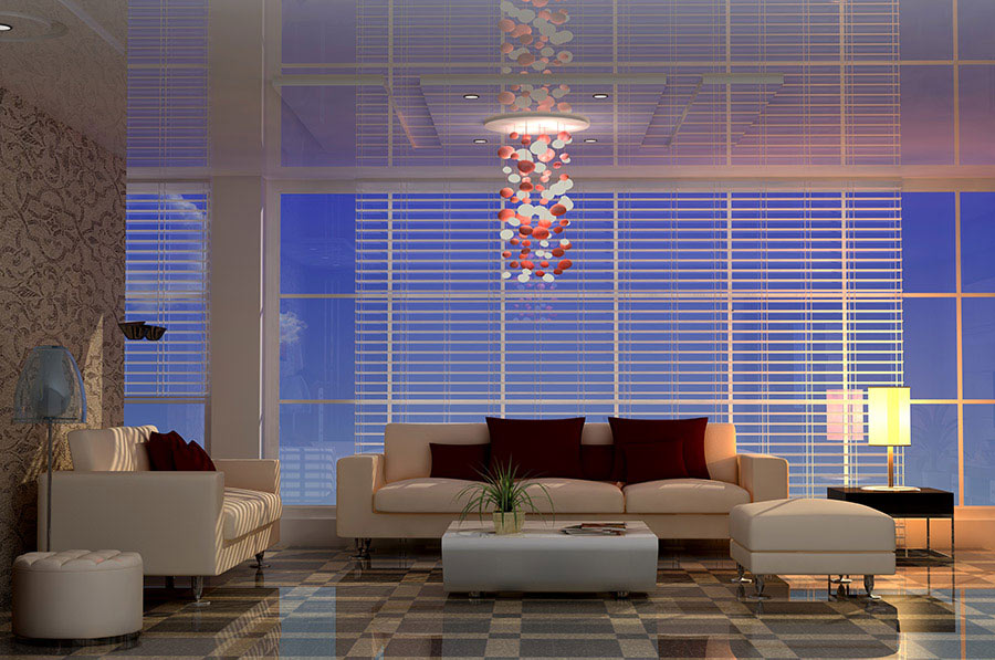 Stretch Ceilings living room with white sofa
