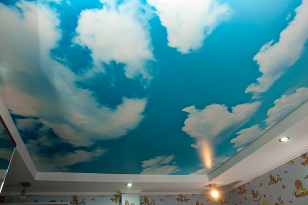 stretch ceilings prints design clouds in blue sky art print